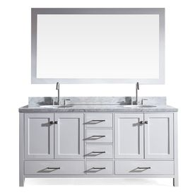 Ariel Cambridge 73 In White Double Sink Bathroom Vanity With White Natural Marble Top Mirror Included Lowes Com Double Sink Bathroom Vanity Bathroom Vanity Double Vanity Bathroom