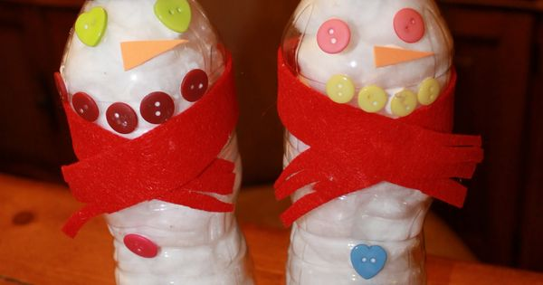 Fun Ideas with a Snowman Theme - recycled water bottle snowman