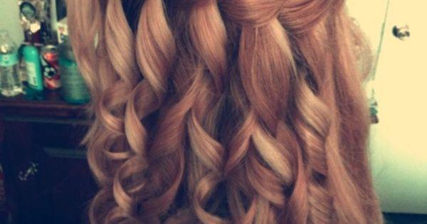 Waterfall Braid. Curly hair. Beautiful hair. Prom hair ideas. Curly prom hair.