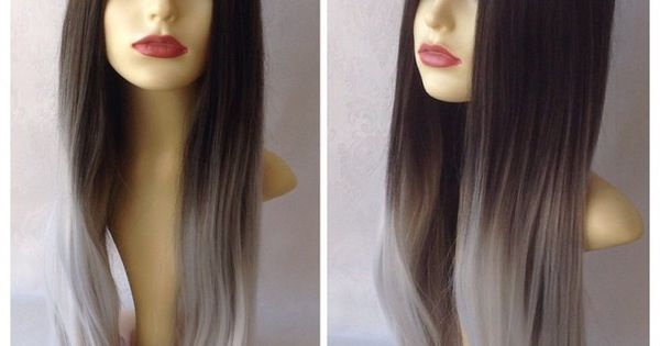 Image Of Grey Ombr 233 Dark Brown Grey Silver Ombr 233 Dip Dye Natural Wig