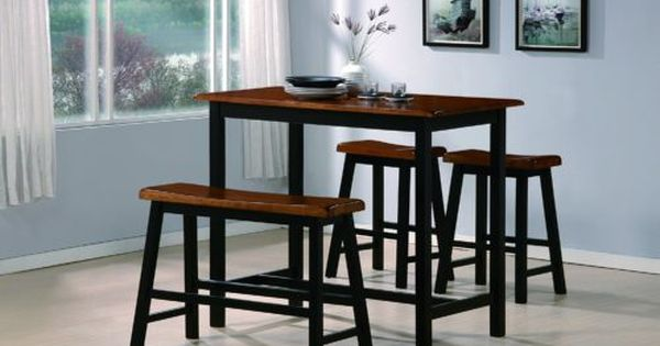 Tyler narrow dining table with bench 4 piece counter for Tall dining tables small spaces