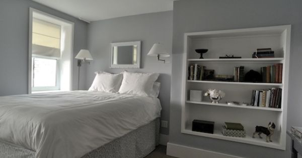 Want the built in bookcase and wall color maybe a hair for Benjamin moore pewter 2121 30