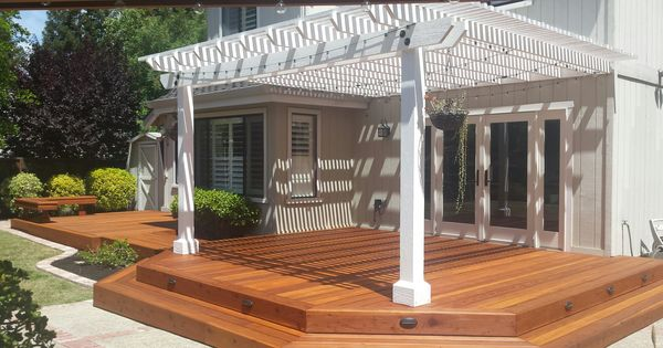 Redwood deck with white arbor our for Redwood deck plans