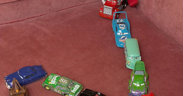 Elf on the Shelf ideas - use matchbox cars to spell Brooks'