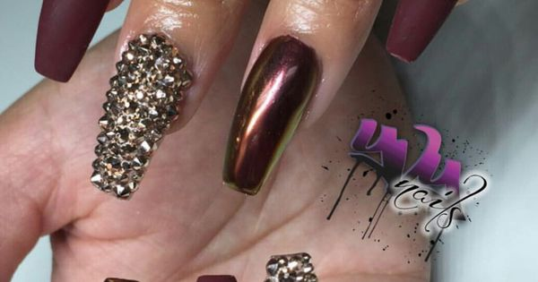 Burgundy nails chrome and matte with gold rhinestones ...