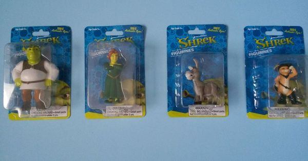Lot of 4 Figurines Shrek Fiona Puss n Boots Donkey Action ...