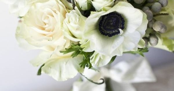 Anemone flowers wedding bouquet. Wonder what the grayish berries are?