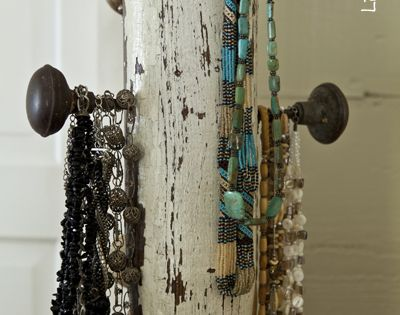 a jewelry tree using an old porch post, a reclaimed finial, some