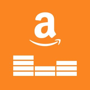 Amazon Smile Logo With Equalizer Bars Underneath Depicting Music