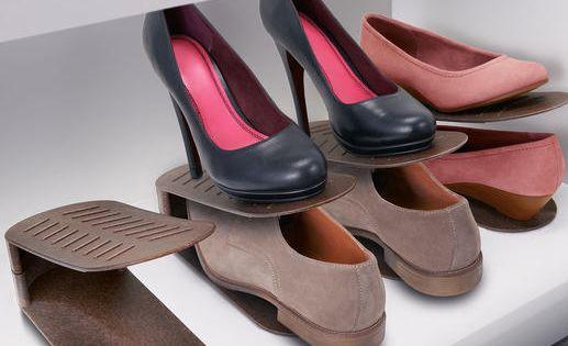Schuhstapler 8er set endlich schluss mit platzmangel im for Schuhschrank umfunktionieren