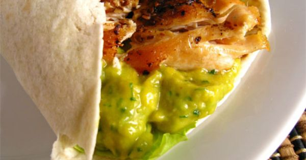 chicken wrap with mango guacamole c
