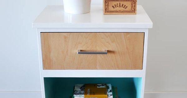 vintage night stand gets a modern mid century makeover. Black Bedroom Furniture Sets. Home Design Ideas