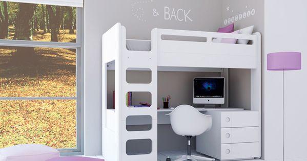 Literas juveniles para habitaciones infantiles de ni os y ni as literas con escritorio en color for Escritorio infantil