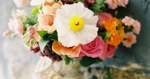 pink, orange, yellow and white flower bouquet | floral design: Flower Wild