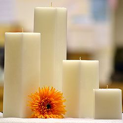 Large pillar Hand Carved Candle Home wedding decoration orange yellow white wax