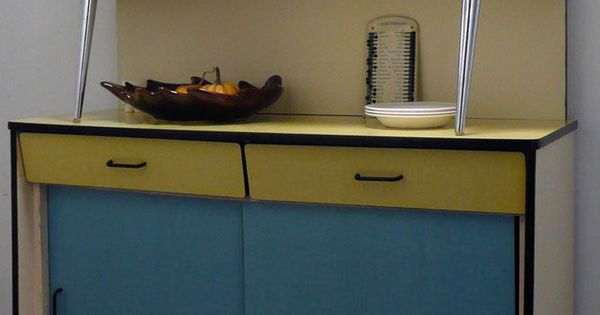 buffet vaisselier formica jaune et bleu ann es 50 60 formica pinterest buffet. Black Bedroom Furniture Sets. Home Design Ideas