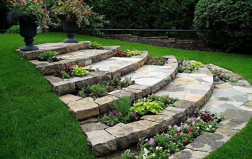 Stone Steps With Planters Hillside Landscape Cheap Landscaping