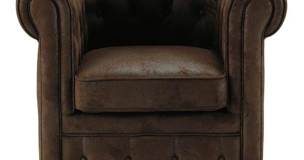 fauteuil capitonn en microfibre marron chesterfield compo salon base maisons du monde. Black Bedroom Furniture Sets. Home Design Ideas