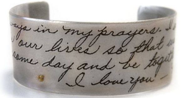 Actual Handwriting Sympathy Gift Bangle Bracelet Memorial Jewelry by donnaodesigns