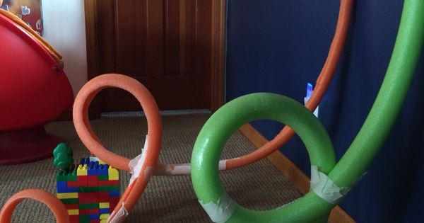 Race Track Wall Art >> Marble roller coaster track using pool noodles and masking/painters' tape. STEM kid engineering ...