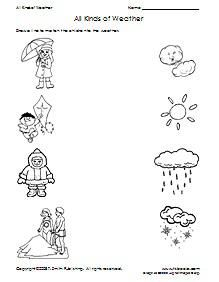 All Kinds Of Weather Matching Worksheet Weather Worksheets