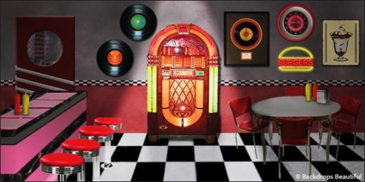 Backdrops Jukebox 2 In 2019 50s Diner Jukebox Backdrops