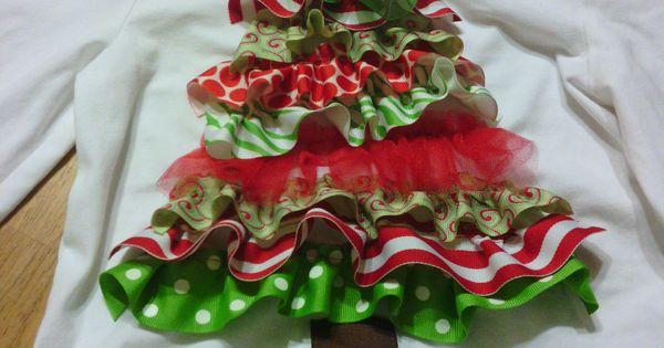 Darling little ruffled ribbon Christmas tree shirt!  :)
