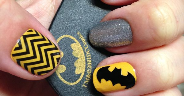 adornbyali@hotmai... Batman Nails, Sparkle Nails, Superhero Nails, Jamberry Nail Wraps! Lemon Drop