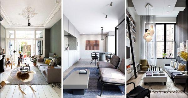 Amenagement Salon Salle A Manger 40m2 Avec Cheminee Et Canape En 2020 Decoration Salon En Longueur Amenagement Salon Deco Salon