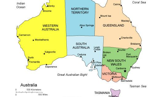 A map of Australia, clearly illustrating the states and territories and major cities. Australia is divided into 6 states including the island state of Tasmania and two territories including the Northern Territory and Australian Capital Territory