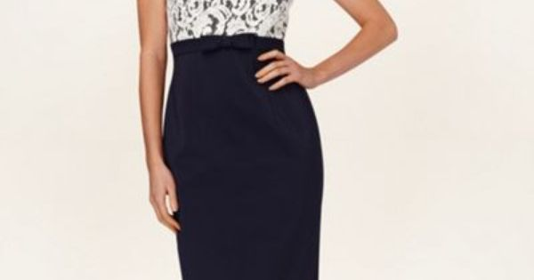 Phase Eight Navy And Cream Matilde Lace Dress- At