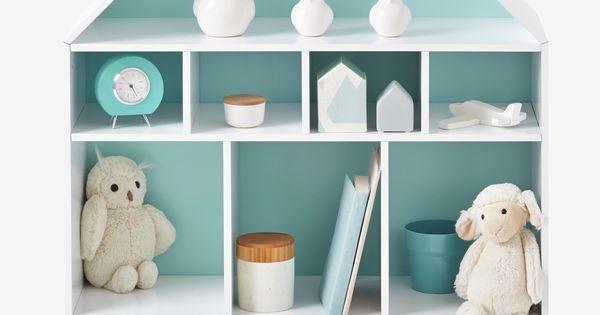vertbaudet regal in hausform in wei blau kinderzimmer. Black Bedroom Furniture Sets. Home Design Ideas