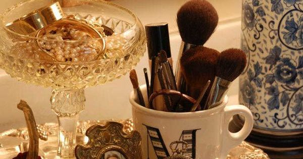 An Old Silver Tray Holds My Necessities Makeup Brushes