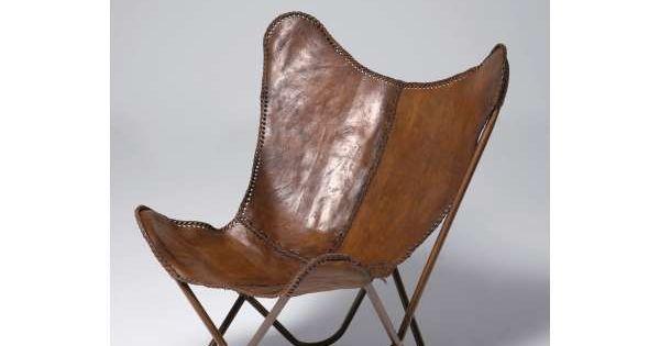 Vlinderstoel leer bruin robin classic klassiek leren for Bauhaus stoel leer