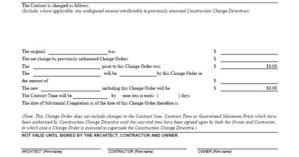 aia g701 change order form template for excel