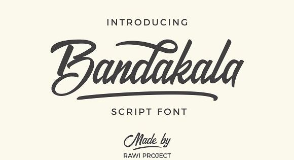 Bandakala is a bold script based on hand lettering that transformed into vintage style font