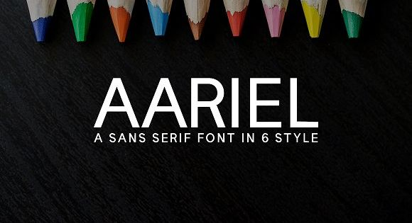 Aariel Sans Serif Typeface – suits best for modern / clean designs, logos, headlines, banners and templates