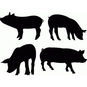 Silhouette Design Store Pig Set Pig Silhouette Silhouette Design Animal Silhouette