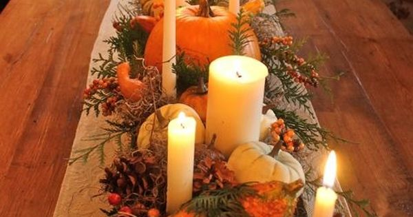 Thanksgiving table centerpiece ~ Gourds, Moss, Greenery and Candles decor fall thanksgiving