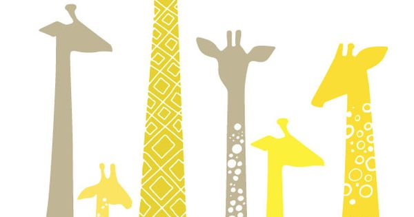 yellow and gray giraffes- cute nursery idea and colors.