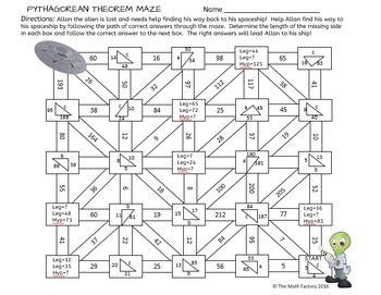 Pythagorean Theorem Maze Activity Pythagorean Theorem Theorems Math Work