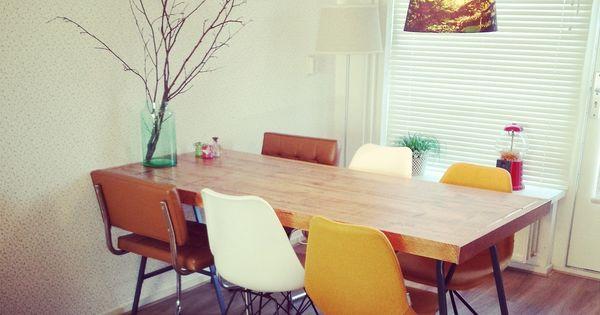 Binnenkijken via 101 Woonideeu00ebn: Zelfgemaakte tafel van steigerhout ...