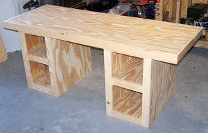 Diy Build Desk Kreg Project Plans For This Desk Are In 3 Separate Sections Wood Desk Plans Woodworking Desk Plans Wood Furniture Diy
