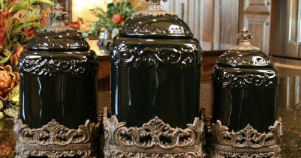 Tuscan Drake Design Black Ceramic Kitchen Canisters S
