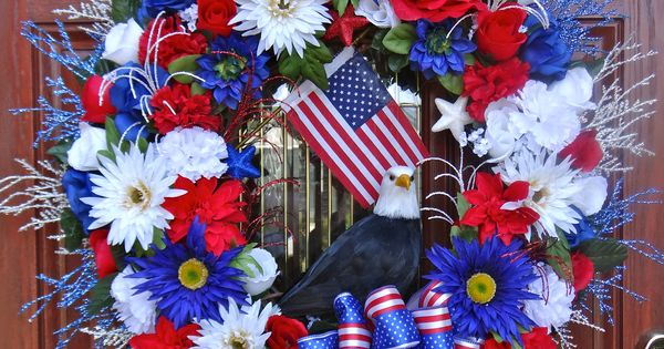 bald eagle fourth of july wreath