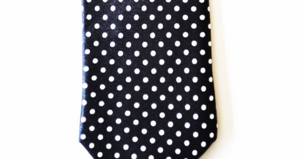 Modern mens Slim Necktie Black and White Polka Dot by HelloMrSmith