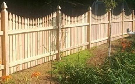 Scalloped French Gothic Picket Fence Wood Privacy Fence Good Neighbor Fence Wood Picket Fence