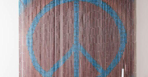 tie dye peace sign bamboo curtain diy
