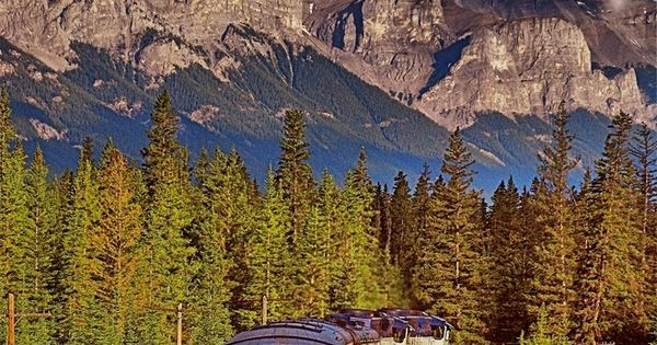 Train ride through the Canadian Rockies, Alberta to British Columbia, Canada by