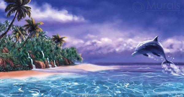 Wallpaper murals hawaiian for tropical wall murals for Dolphins paradise wall mural
